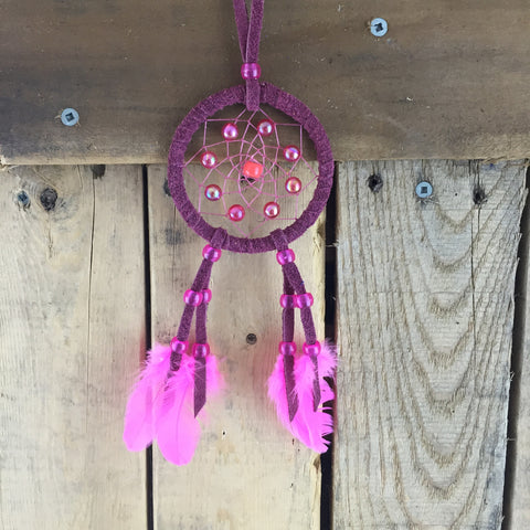 Small Burgundy & Pink Moose Hide Beaded Feather  Dream Catcher