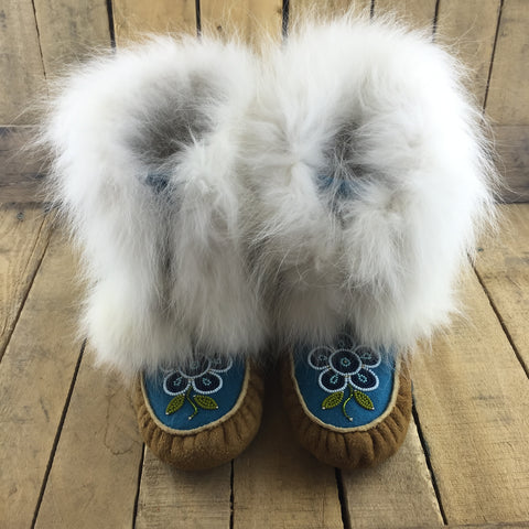 Beaded Blue Flowers on Blue Stroud on Hand Tanned Crow Boots with Rabbit Fur