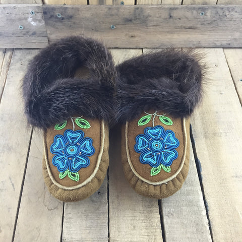 Beaded Teal Flowers on Hand Tanned Slippers with Beaver Fur