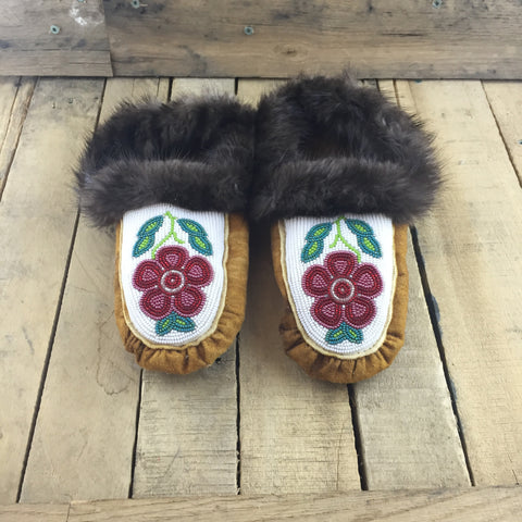 Fully Beaded Red Flowers on White Beaded Background on Hand Tanned Slippers with Beaver Fur