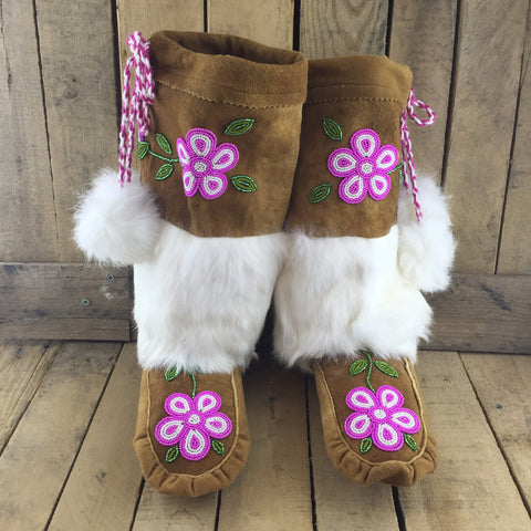 Beaded Pink/White Flowers on Hand Tanned Mukluks with Rabbit Fur