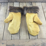 Tan Leather Mitts with Fleece Lining and Beaver Trim