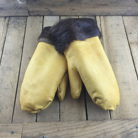 Tan Leather Mitts with Sheepskin Lining and Beaver Fur Trim