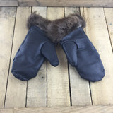 Black Leather Mitts with Alpaca Lining and Beaver Trim