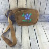 Tan Stroud Purse with Embroidered Flower