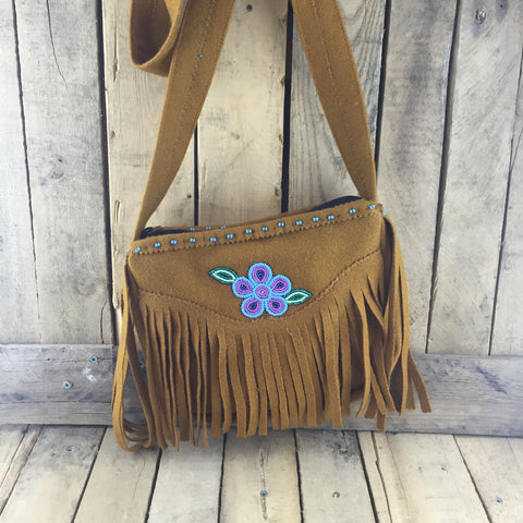 Tan Stroud Purse with Fringe and Beaded Flower