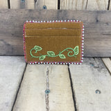 White/Red Beaded Moose Hide Card Holder