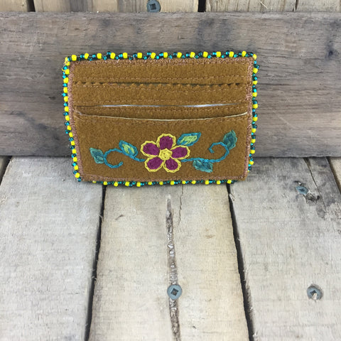 Yellow/Green Beaded Moose Hide Card Holder