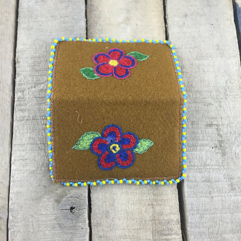 Beaded Yellow/Blue Moose Hide Cardholder