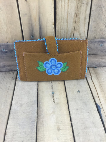 Beaded Blue Trim Around Brown Stroud Wallet