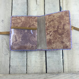 Beaded Blue/Pink Trim Around Brown Stroud Passport Holder