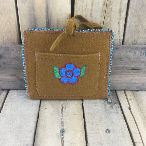 Beaded Teal/Clear Trim Around Brown Stroud Passport Holder