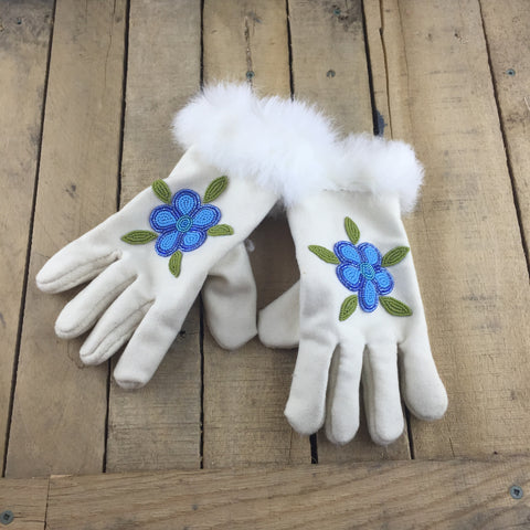 White Stroud And  Rabbit Fur Gloves