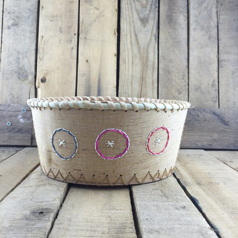 Birch Bark Basket with Circle Porcupine Quill Design