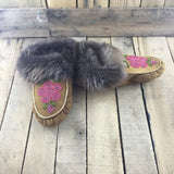 Beaded Pink Flowers on Hand Tanned Slippers with Beaver Fur