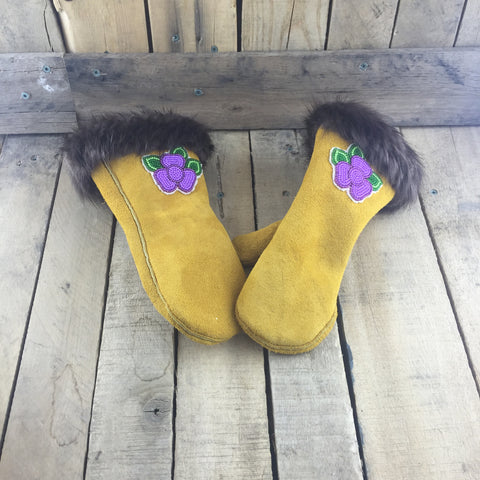 Beaded Purple Flowers on Factory Tanned Mittens with Beaver Fur