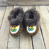 Small Beaded Bumble Bee Hand Tanned Slippers with Beaver Fur