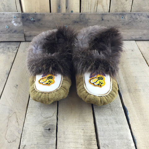 Beaded Bumble Bee Slippers on Commercial Moose Hide  with Beaver Fur