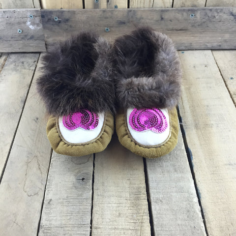 Pink Sequin Heart Commercial hide Slippers with Beaver Fur
