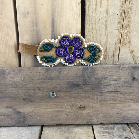 Beaded Purple Flower Keychain