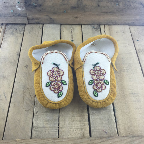 Beaded Pink Flowers on Factory Tanned Slippers