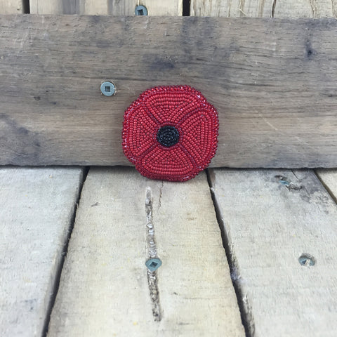 Beaded Red Poppy Pin