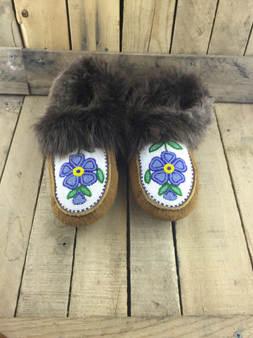 Fully Beaded Blue Flowers on Hand Tanned Slippers with Beaver Fur