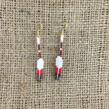 Beaded Red Feather Earrings with Porcupine Quill