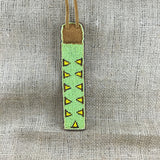 Beaded Lime Green Moose Hide Pen Holder with Chain