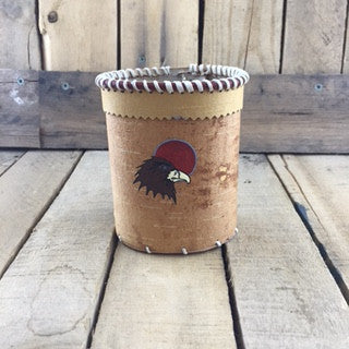 Brown Eagle Painted on Pen/Pencil Birch Bark Holder
