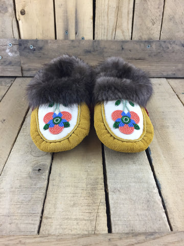 Beaded Coral Flowers on White Stroud on Factory Tanned Lined Slippers with Beaver Fur