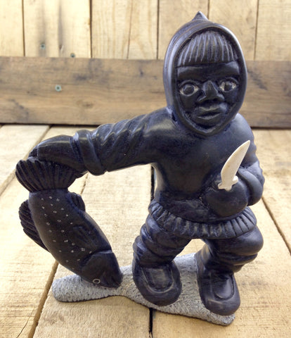 "Soap Stone Carving ""Man with Knife/Fish"""