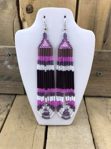 "41/2"" Beaded Earring Purple/Pink/White Triangle"