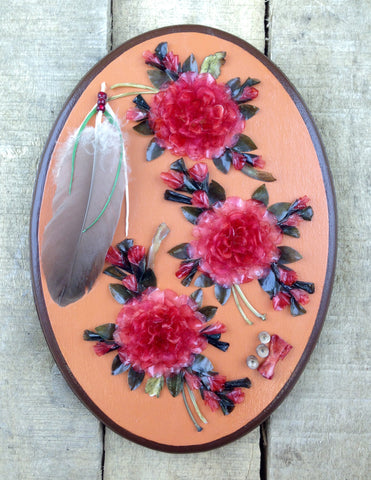 Pink Fish Scale Art with Feather on Peach Wooden Oval Frame