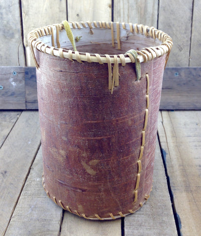 Plain Birch Bark Basket with Moose Hide Handle and No Lid