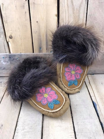 Moose Hide Beaver Cuff Slipper with Beading and Pink Flower