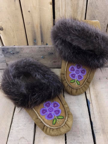 Moose Hide Beaver Cuff Slipper with Beading Two Tone Purple