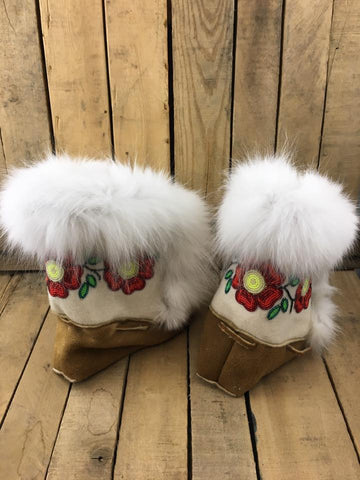 Crow Boots With Red Flowers and Arctic Fox Fur