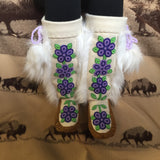 Purple/Green Flower Beaded Moose-Hide/Stroud Mukluks with Synthetic Fur