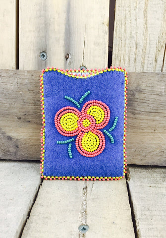 Blue Stroud with Orange and Yellow Beaded Flower Card Holder