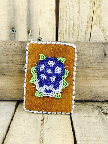 Tan Stroud Dark Blue Blue/Light Blue Beaded Card Holder
