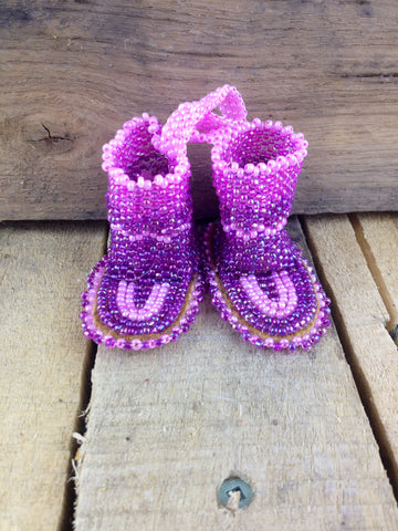 Pink and Purple Beaded Decorative Mukluks