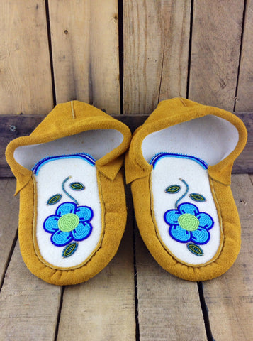 Blue Flowers Beaded on Factory Tanned Moose Hide Slippers