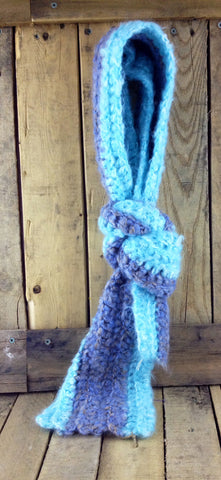 Hand-Knitted Two Tone Blue Scarf