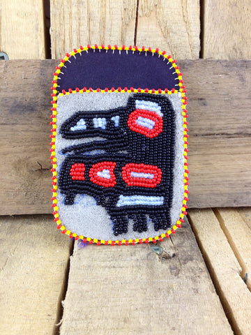 Beaded Raven on Stroud Cardholder