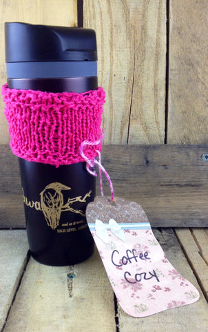 Hand-Knitted Pink Coffee Cozy (mug not included)