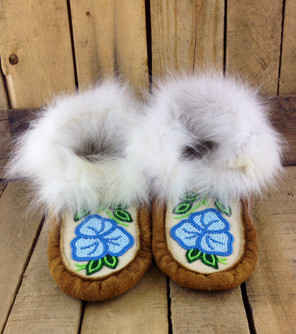 Blue Flowers Beaded on Hand Tanned Moose Hide Slippers with White Rabbit Fur