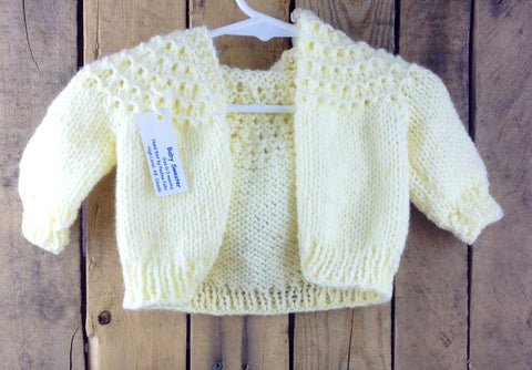 Yellow Hand-Knitted Hooded Baby Sweater