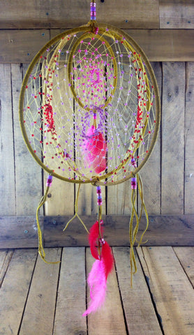 Pink Beaded Moose Hide Dreamcatcher
