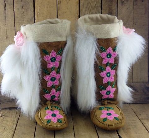 Pink Beaded Flowers on Hand Tanned Moose Hide Mukluks with Faux Fur